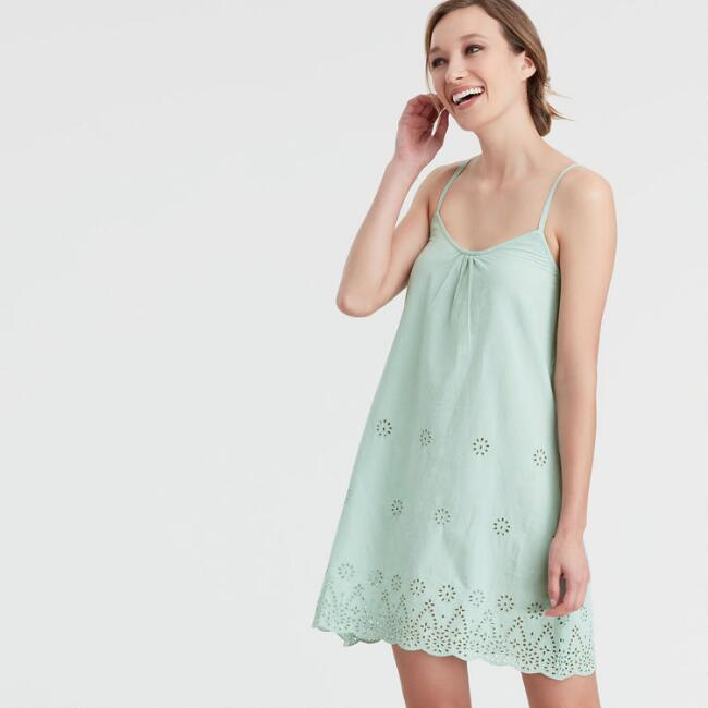 Jade Green Eyelet Embroidered Chemise