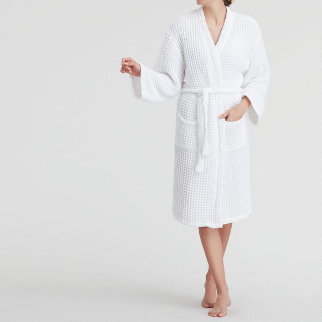 White Waffle Weave Cotton Robe with Pockets
