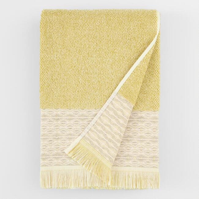 Cress Green and Ivory Marled Fringe Kaya Bath Towel