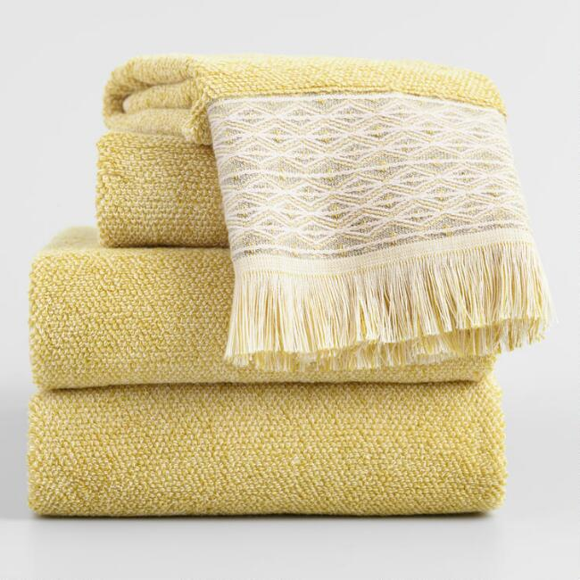 Cress Green and Ivory Marled Fringe Kaya Towel Collection