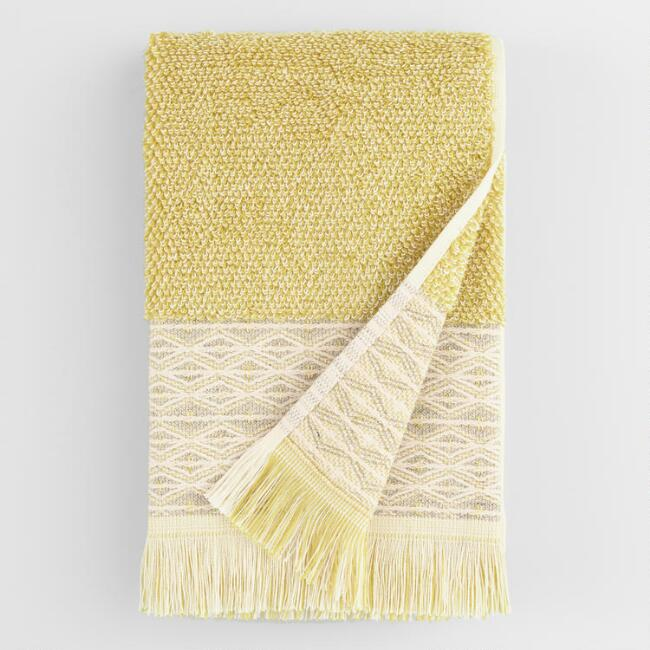 Cress Green and Ivory Marled Fringe Kaya Hand Towel