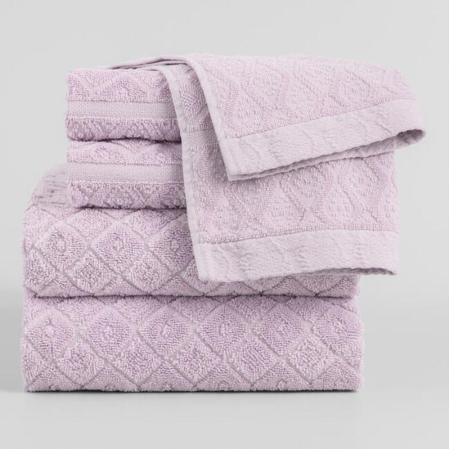 Lavender Sunfaded Sculpted Sadie Towel Collection