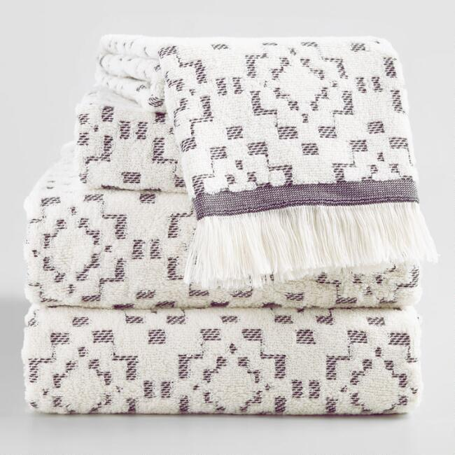 Ivory and Black Sculpted Diamond Nala Towel Collection
