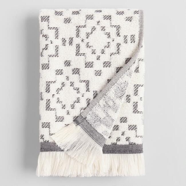 Ivory and Black Sculpted Diamond Nala Hand Towel