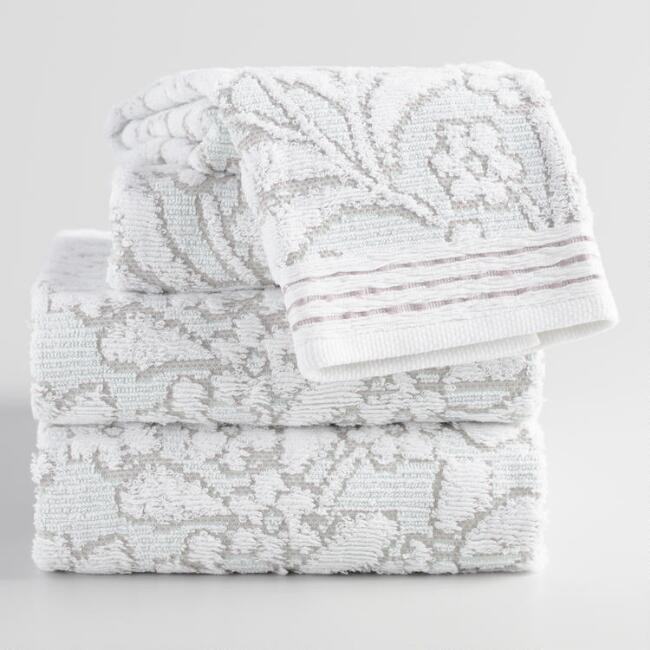 Jade Green and Taupe Sculpted Leaves Sasha Towel Collection