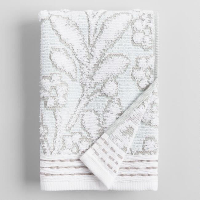 Jade Green and Taupe Sculpted Leaves Sasha Hand Towel