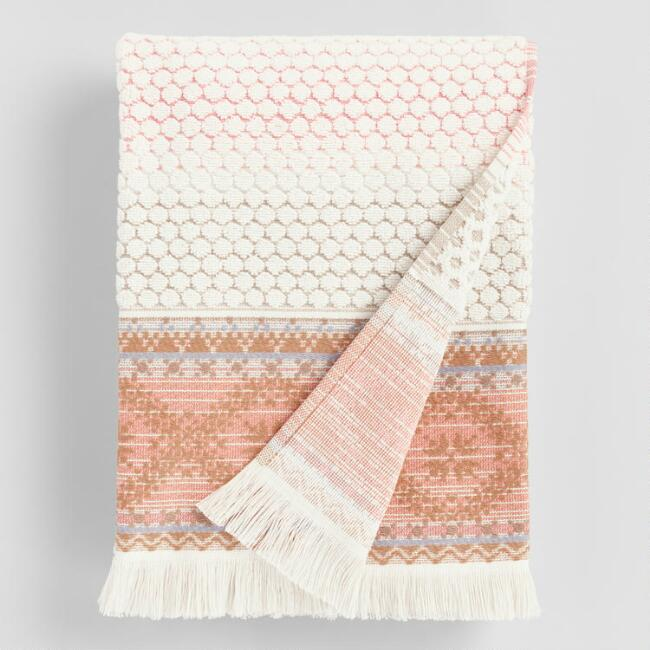 Terracotta Stripe Tufted Mia Bath Towel