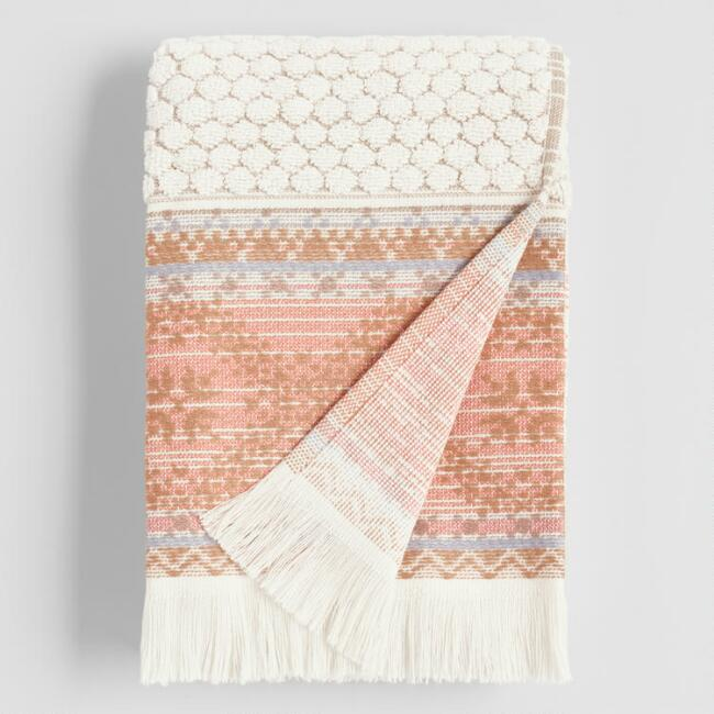 Terracotta Stripe Tufted Mia Hand Towel