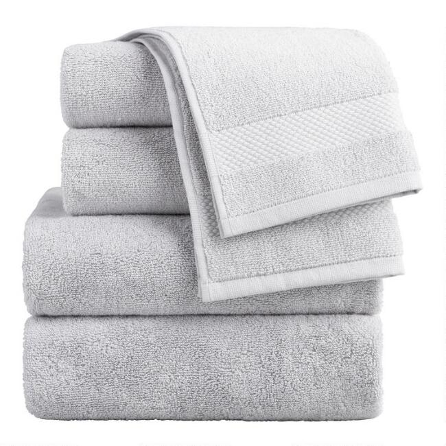 Pebble Gray Cotton Bath Towel Collection