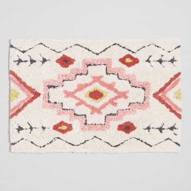 Terracotta and Blush Sunwashed Tufted Bath Mat