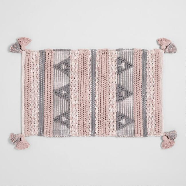 Blush and Gray Geometric Chunky Tassel Bath Mat