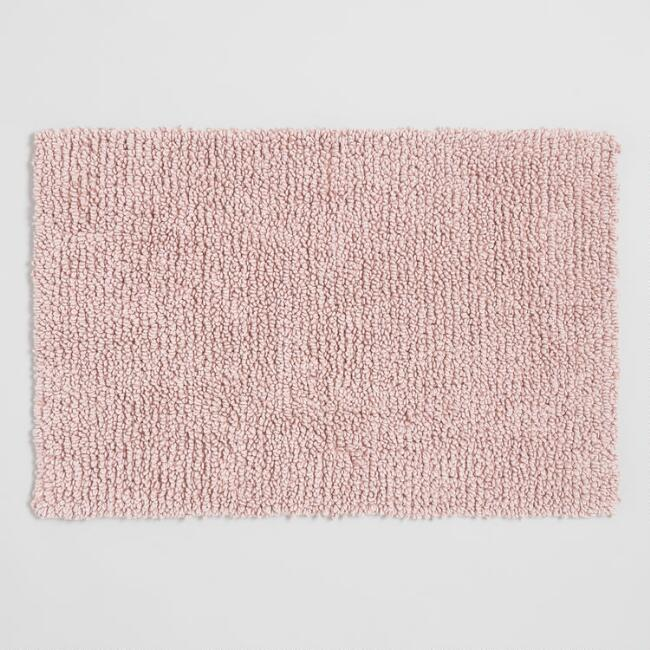 Blush Stonewashed Looped Bath Mat