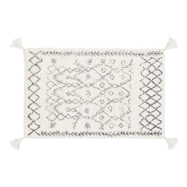 Oversized Ivory and Black Moroccan Tassel Bath Mat