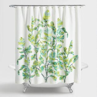 Green And Ivory Fiddle Leaf Fig Shower Curtain