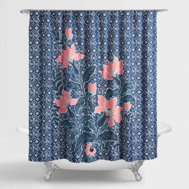 Indigo Blue Batik Floral Shower Curtain