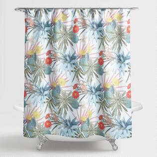 Multicolor Succulent Shower Curtain