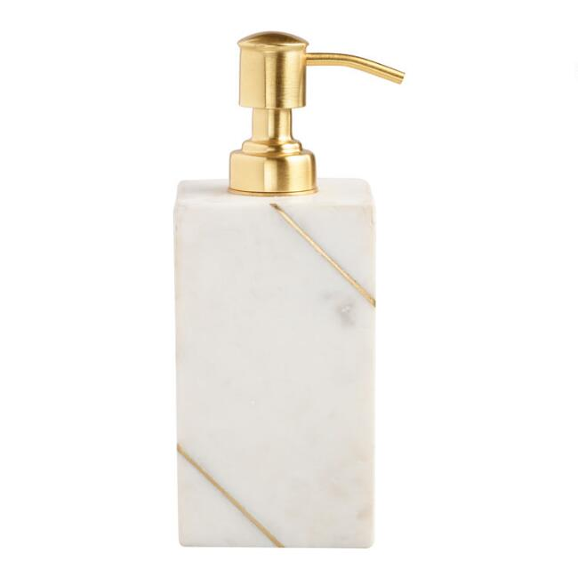 White Marble And Gold Liquid Soap Dispenser
