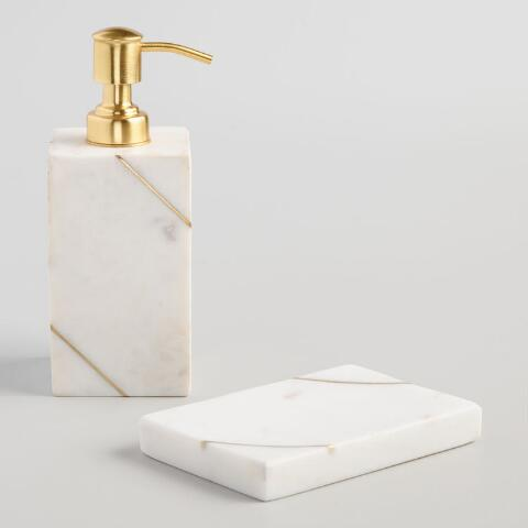 White Marble And Gold Soap Dispenser World Market