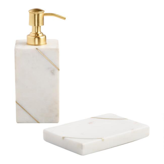 White Marble And Gold Bath Accessories