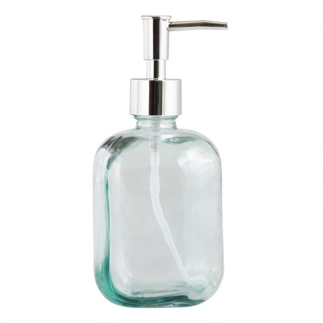 Aqua Recycled Glass Liquid Soap Dispenser