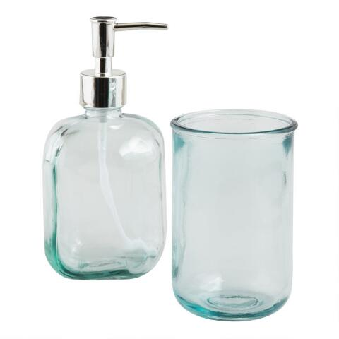 Aqua Recycled Glass Bath Accessories Collection World Market