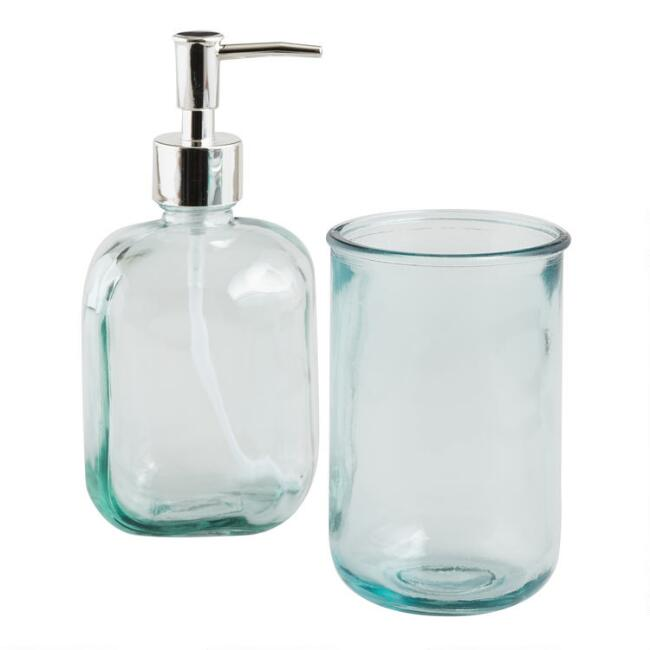 Aqua Recycled Glass Bath Accessories Collection