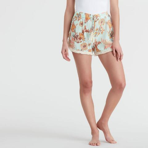 d5baa592e7 Blue and Coral Floral Claire Pajama Shorts. Previous. v3. v1