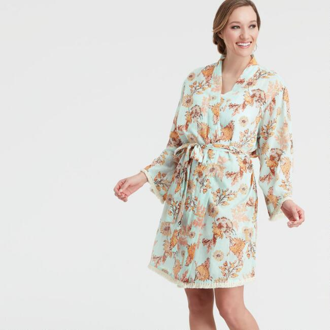 Blue and Coral Floral Claire Robe