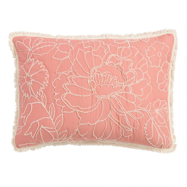 Coral and Ivory Embroidered Kendall Pillow Shams Set of 2