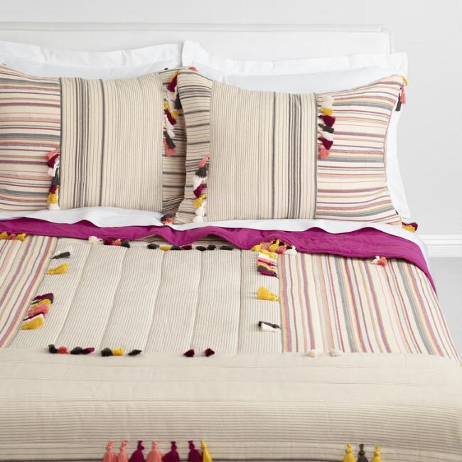 Multicolored Stripes and Tassels Naima Quilt