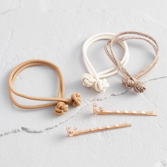 Light Neutral Hair Pin And Tie Set