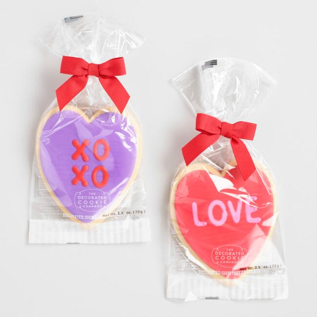 Iced Heart Valentine's Day Cookies Set of 2
