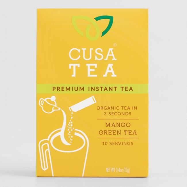 CUSA Tea Organic Mango Green Instant Tea Mix 10 Count