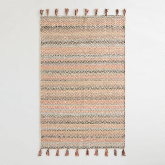 Multicolor Chevron Flatweave Jute and Cotton Cedar Area Rug