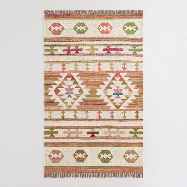 Multicolor Arrow and Diamond Kilim Chindi Area Rug