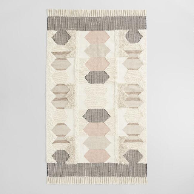 Blush and Charcoal Geometric Wool Kilim Calypso Area Rug