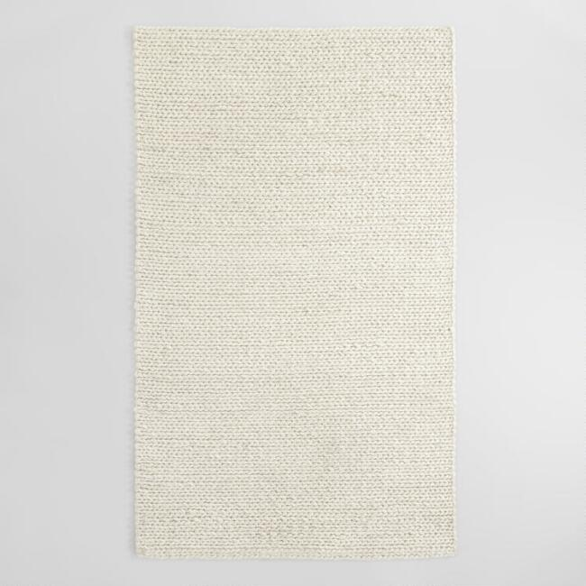 Ivory Cable Knit Chunky Sweater Wool Carmel Area Rug