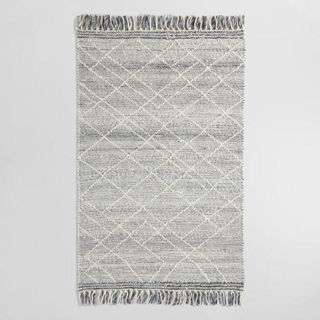 Gray and Ivory Diamond Sweater Wool Hunter Area Rug