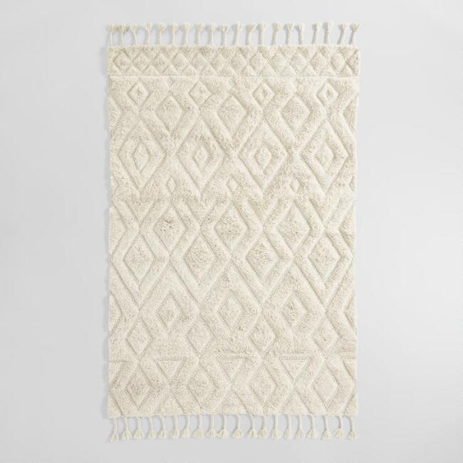 Ivory Diamond Wool Shag Aspen Area Rug