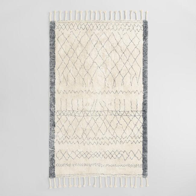 Ivory and Charcoal Moroccan Cotton Shag Azar Area Rug