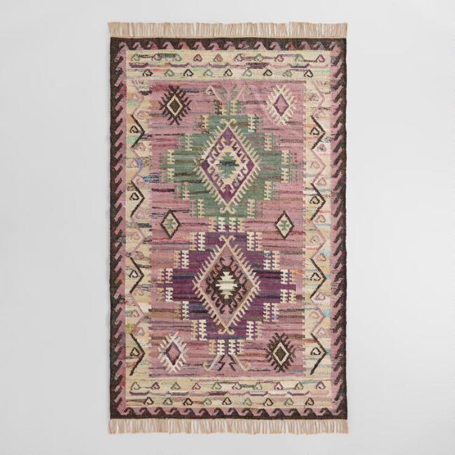 Purple and Green Cotton Kilim Agave Area Rug