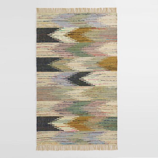 Multicolor Abstract Chevron Cotton Kilim Sedona Area Rug