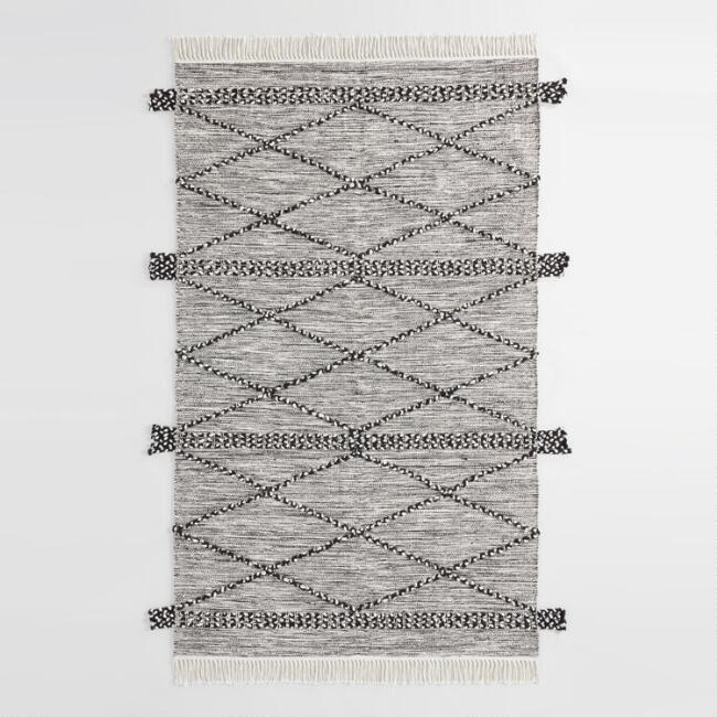 Ivory and Black Diamond Cotton Kilim Avery Area Rug