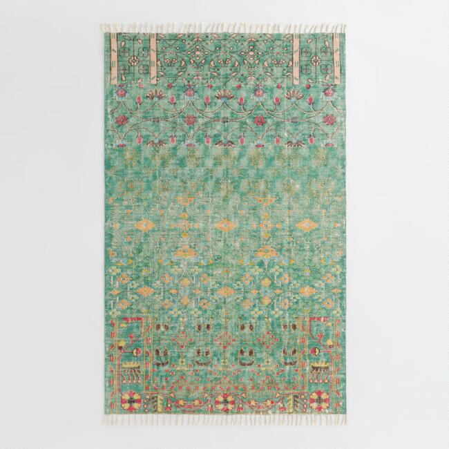 Green Floral Cotton Kerala Area Rug