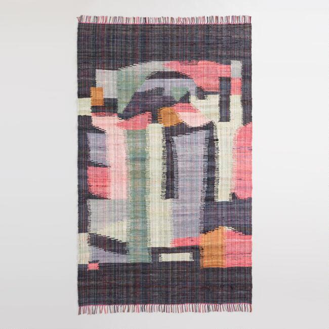 Black Multicolor Abstract Cotton Chindi Cordes Area Rug