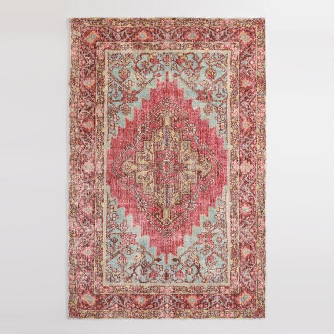 Fuchsia and Aqua Persian Style Amira Area Rug
