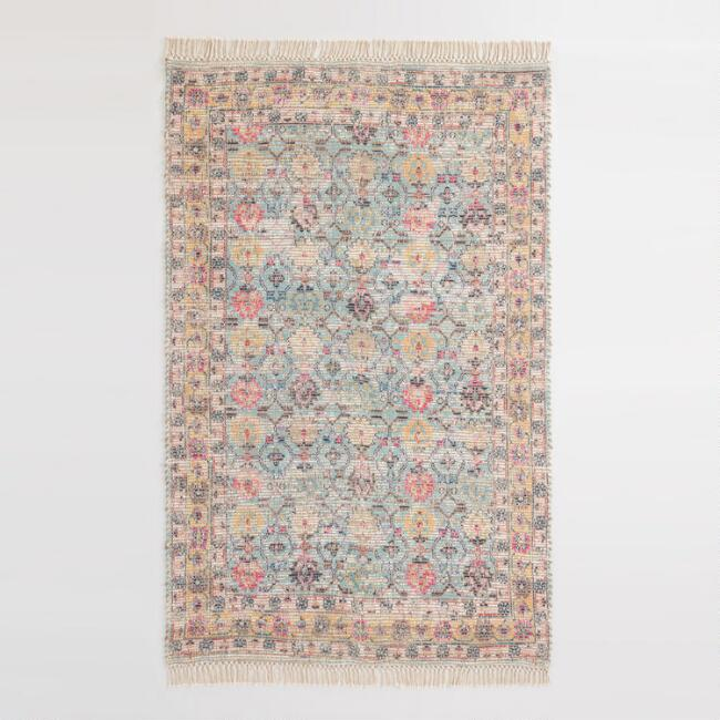 Yellow and Aqua Floral Print Jute Blend Shashi Area Rug