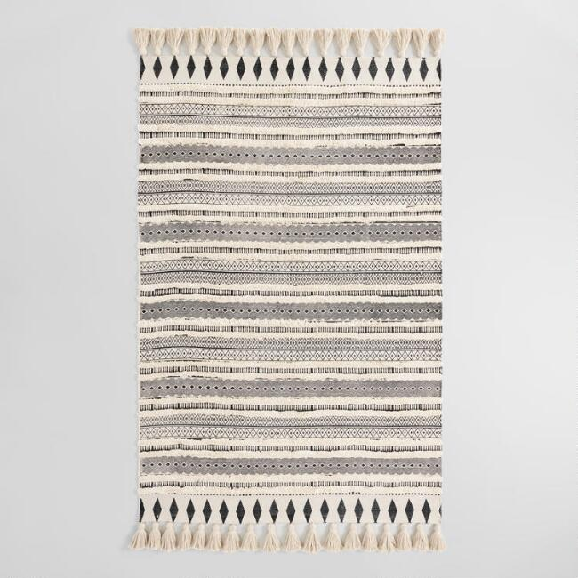 Ivory and Black Moroccan Cotton Shag Area Rug