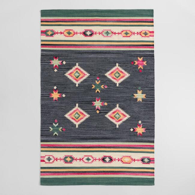 Dark Green Cotton Kilim Asa Area Rug