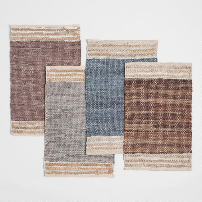 Leather Chindi Area Rug with Jute Border